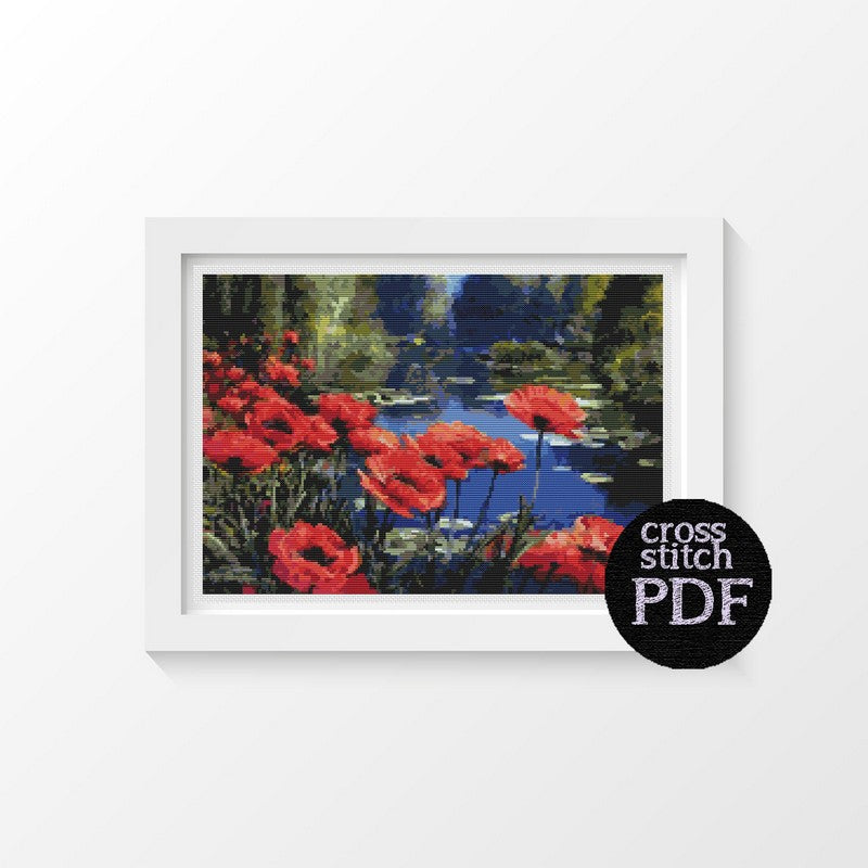 Poppies by the Pond Cross Stitch Pattern