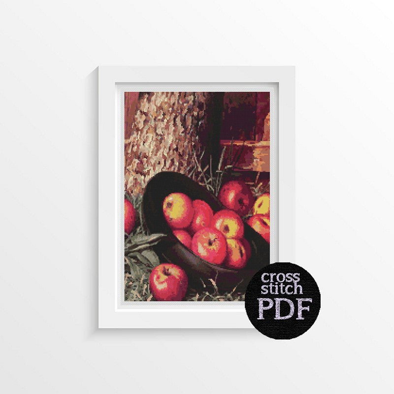 Still Life of Apples in a Hat Cross Stitch Pattern - The Art of Cross Stitch