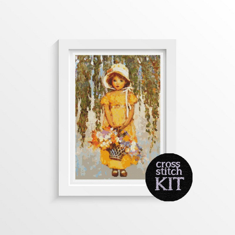 Girl with Posies Cross Stitch Kit