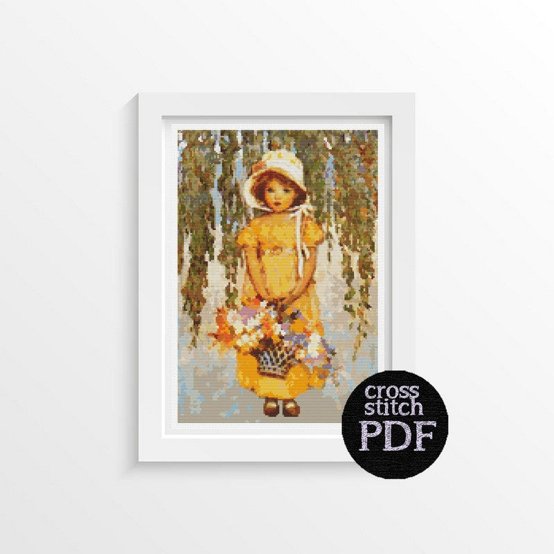 Girl with Posies Cross Stitch Pattern - The Art of Cross Stitch