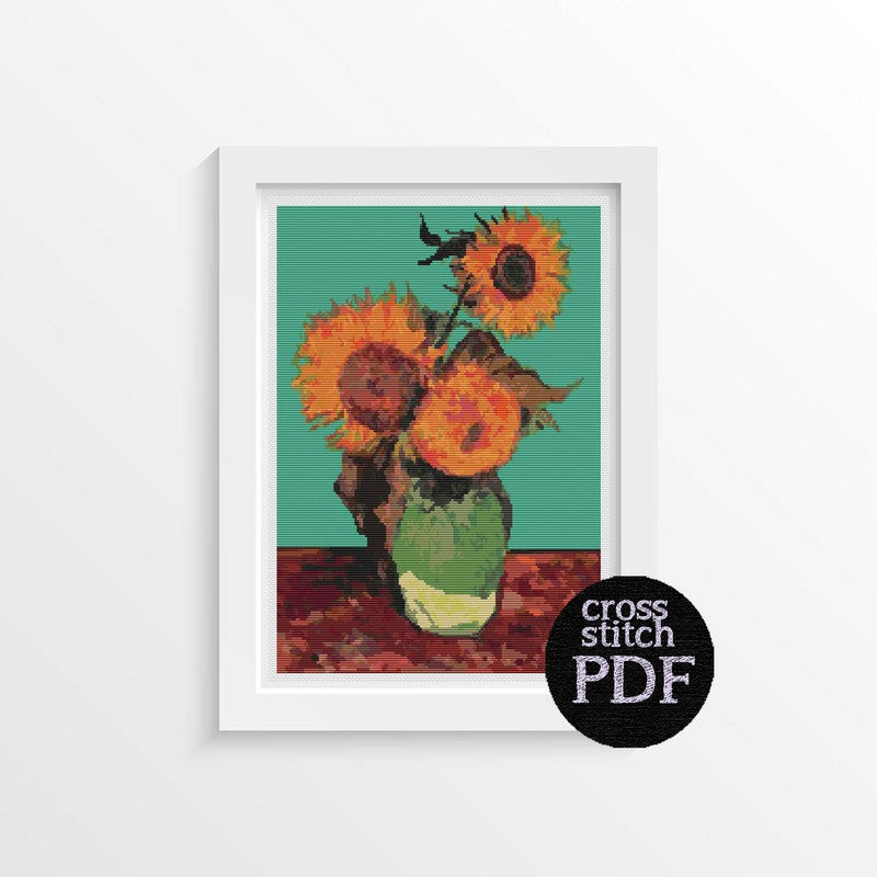 Vase with Three Sunflowers Cross Stitch Pattern - The Art of Cross Stitch