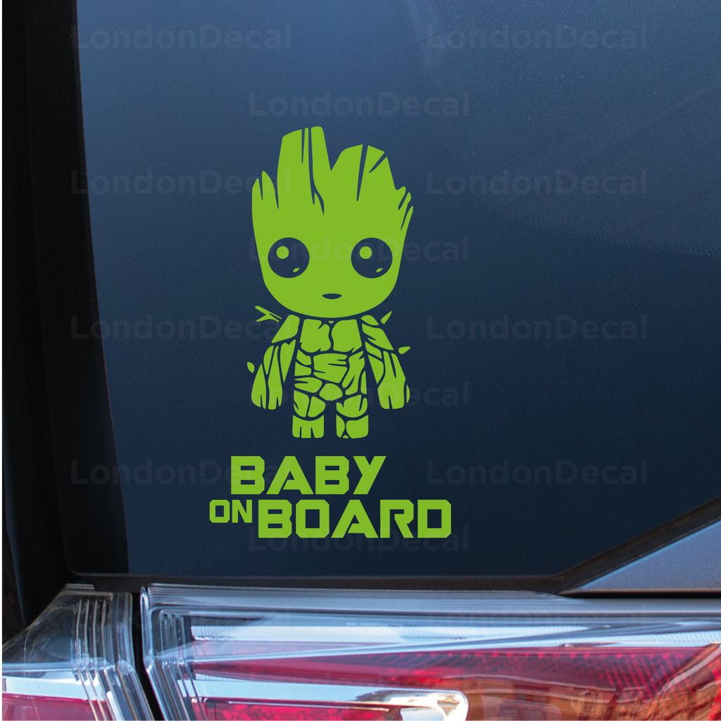 Baby On Board Car Decal - Baby Groot - Inverted