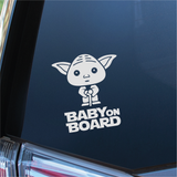 Baby On Board Yoda Car Decal - Inverted