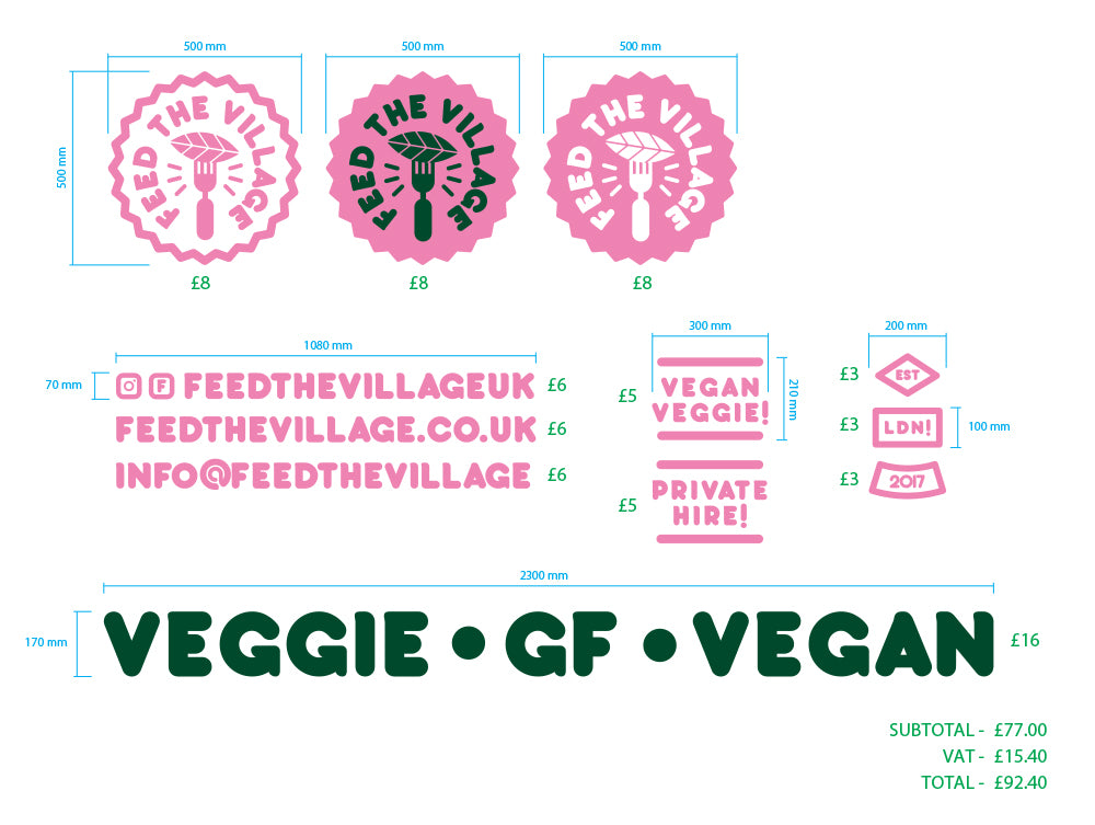 Custom 'Feed The Village' Decals