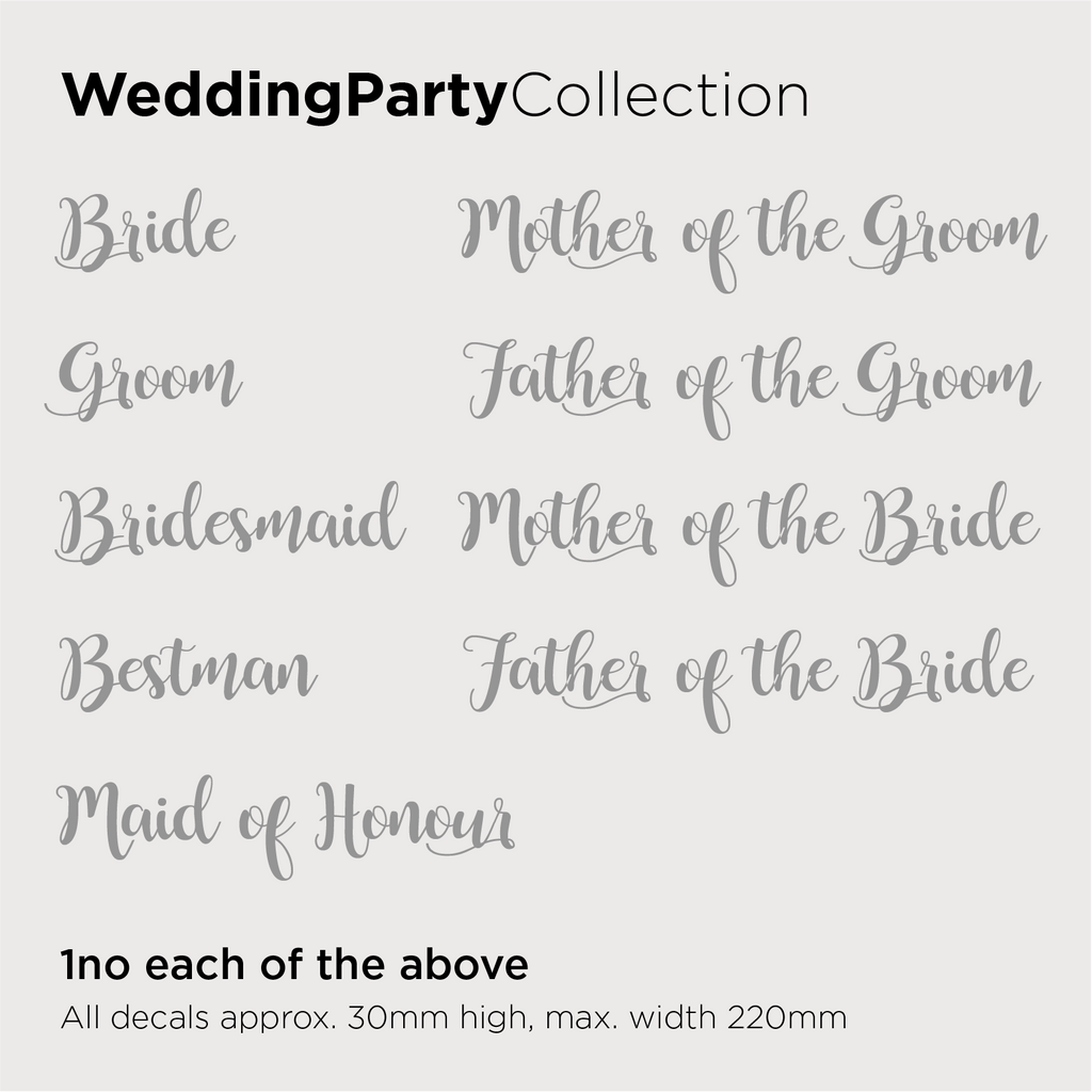 Wedding Party Collection Decals