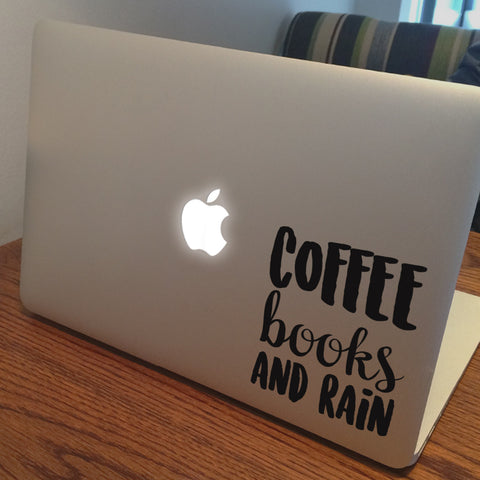 Coffee Books and Rain Quote Macbook Decal