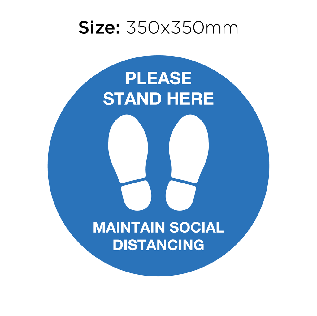 Please Stand Here - Social Distancing Signage (BLUE)