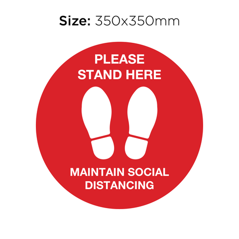 Please Stand Here - Social Distancing Signage (RED)