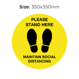 Please Stand Here - Social Distancing Signage (YELLOW)