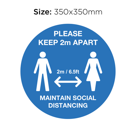 Keep 2M Apart - Social Distancing Signage (BLUE)