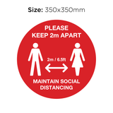 Keep 2M Apart - Social Distancing Signage (RED)
