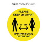 Keep 2M Apart - Social Distancing Signage (YELLOW)