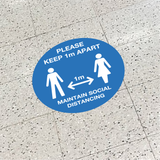Keep 1M Apart - Social Distancing Signage (BLUE)