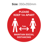 Keep 1M Apart - Social Distancing Signage (RED)