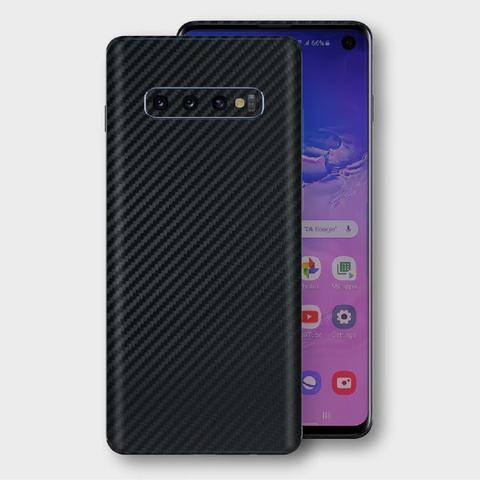 Samsung Galaxy S10+ Plus - Textured Black Carbon Fibre Skin