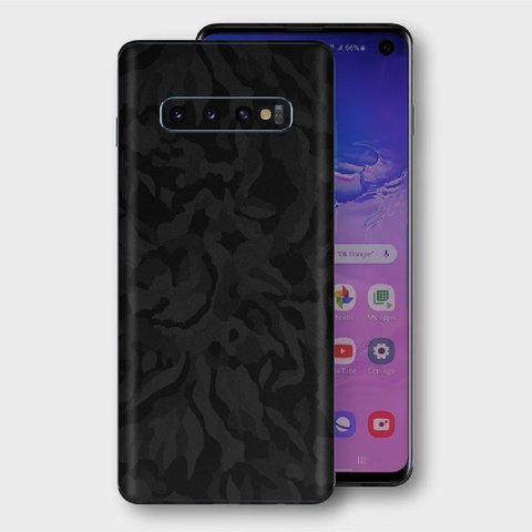 Samsung Galaxy S10+ Plus - Textured Shadow Black Camo Skin
