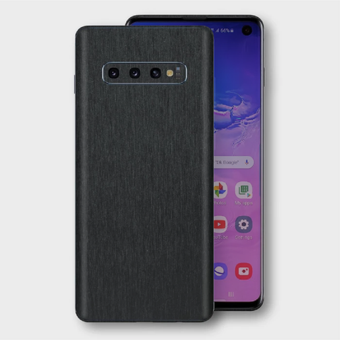 Samsung Galaxy S10+ Plus - Brushed Black Metallic Skin