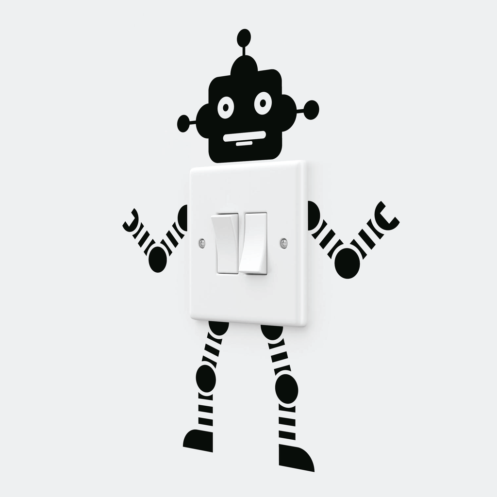 Robot Light Switch Wall Decal