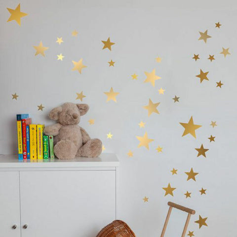 Gold Stars Wall Decal - Mixed Size
