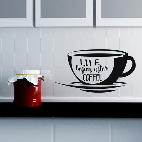 Life Begins After Coffee Wall Decal