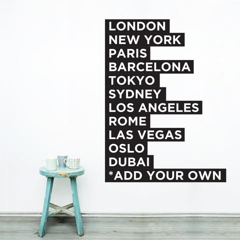 Famous Cities Wall Decal **ADD YOUR HOME TOWN**