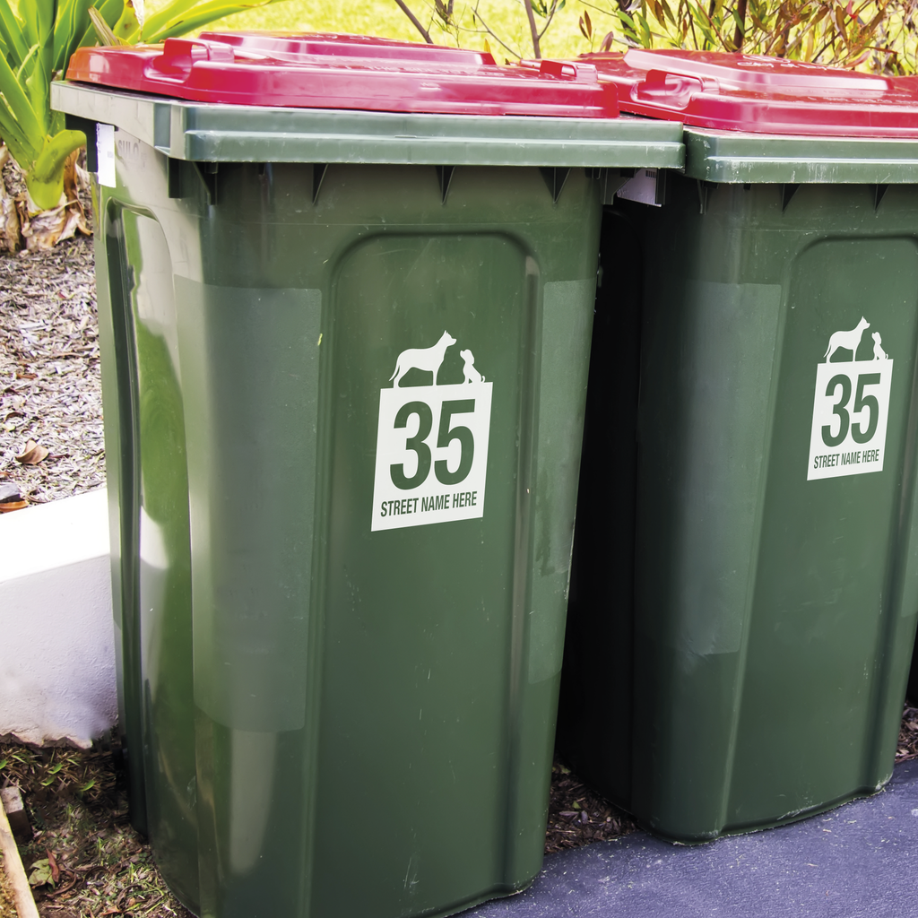 Wheelie Bin Decals - Dog Design