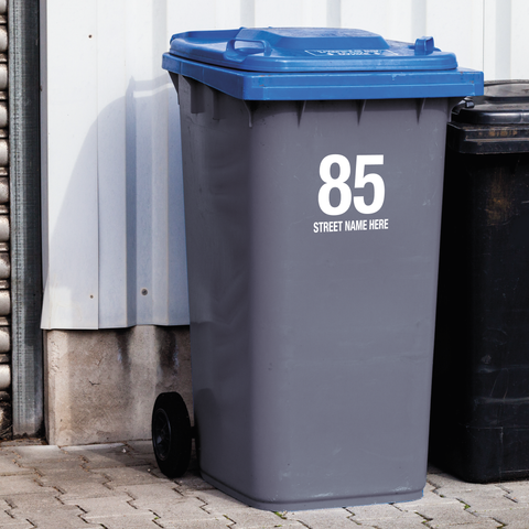 Wheelie Bin Decals - Name and Number