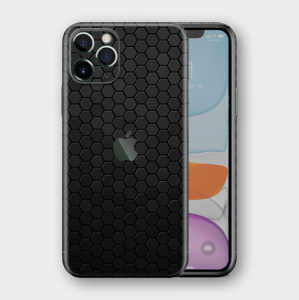 iPhone 11 Pro Max - Textured Black Honeycomb Skin