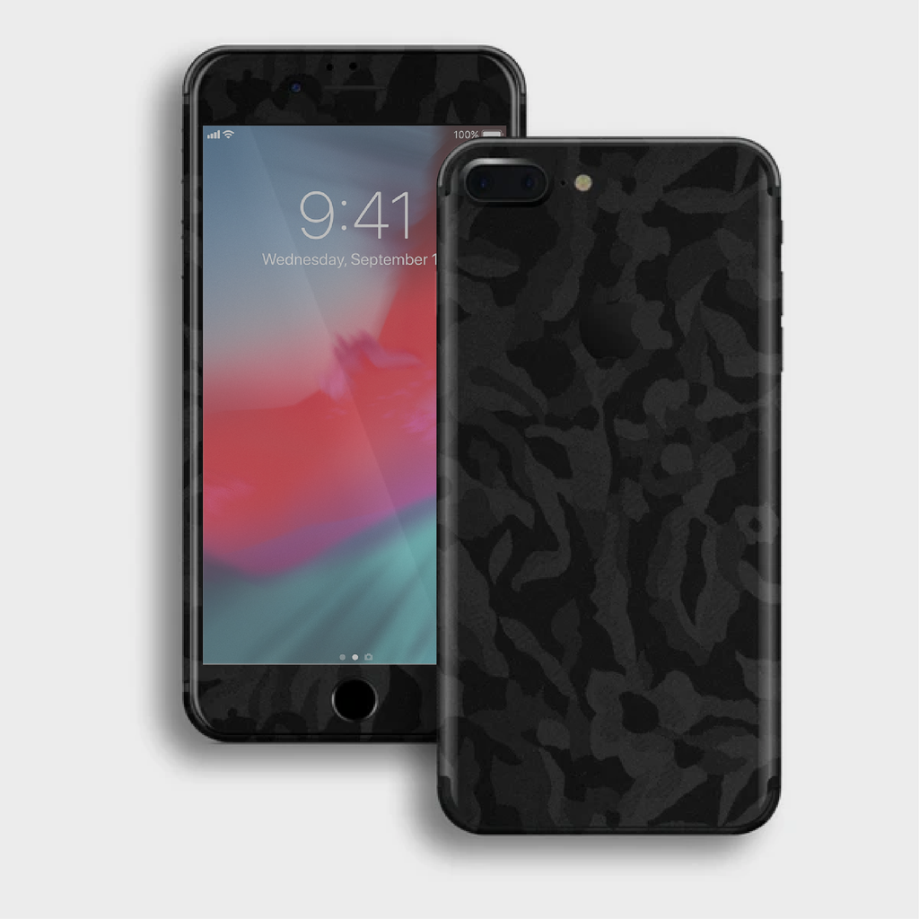 iPhone 8 Plus - Textured Shadow Black Camo Skin