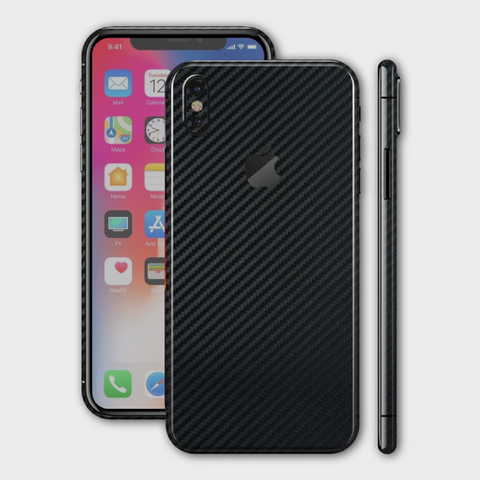 iPhone XS - Textured Black Carbon Fibre Skin