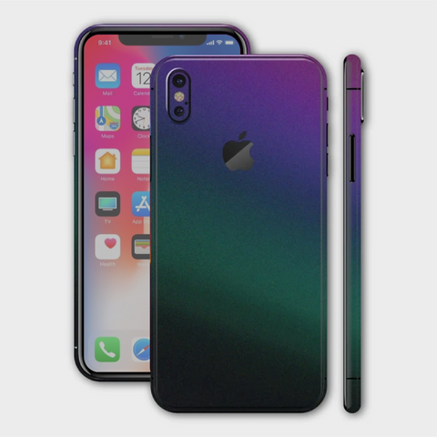 iPhone XS - Matt Green Purple Lightning Metallic (Chameleon Colourflow) Skin