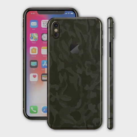 iPhone XS - Textured Military Green Camo Skin
