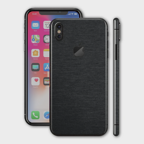 iPhone XS - Brushed Black Metallic Skin