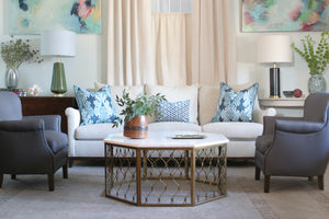 Vignette with Jules sofa in Neutral with two blue chairs