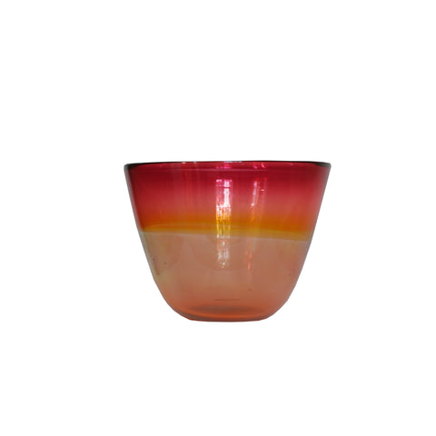 Mouth blown glass bowl in Red and Yellow