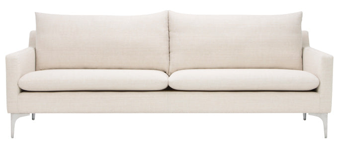 Anders two cushion sofa in natural sand tweed fabric