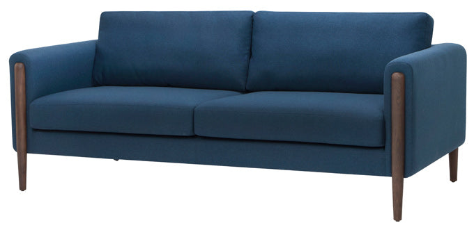Steen two cushion sofa in Lagoon blue tweed with legs finished in ash stained walnut