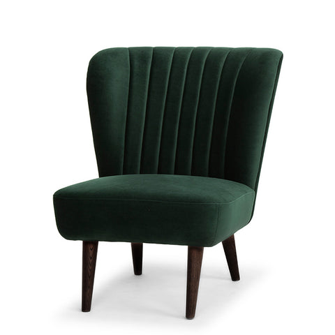 The Alicia Occasional Chair in emerald green velvet