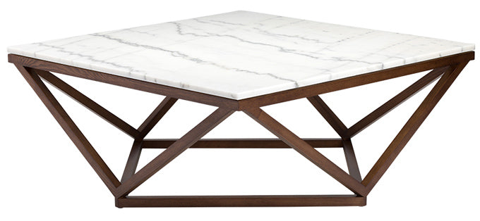 Jasmine coffee table with white marble top and walnut base