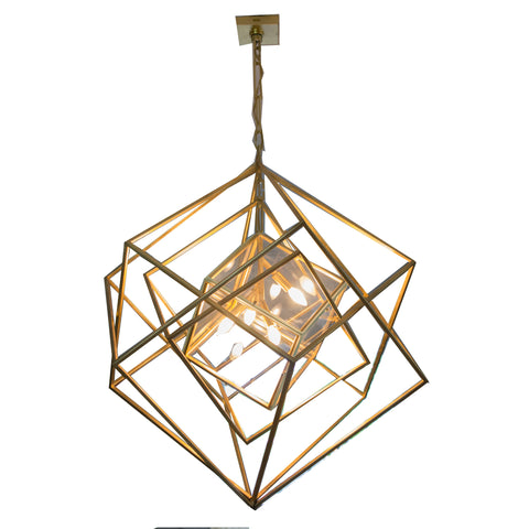Cubist Medium Chandelier in Gild