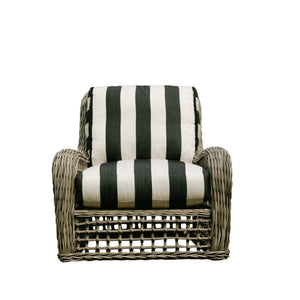 Moraya Bay Club Chair by Lane Venture in Oyster finish upholstered in black and white awning stripe