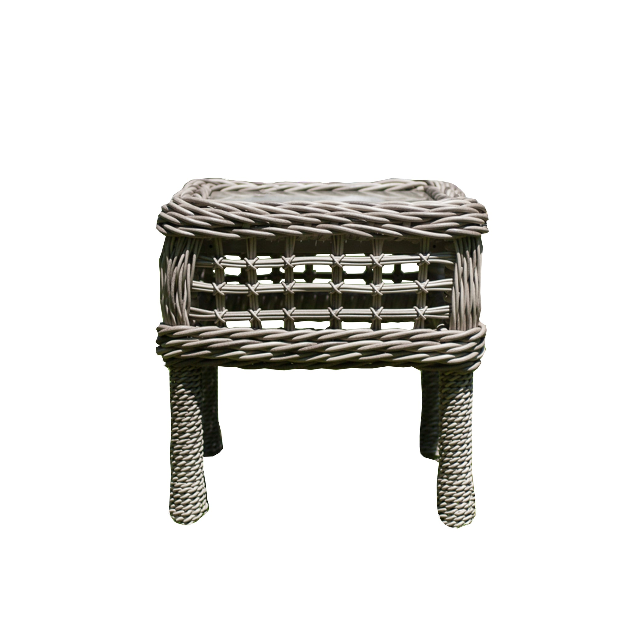 Moraya Bay Accent Table by Lane Venture in Oyster finish with glass insert