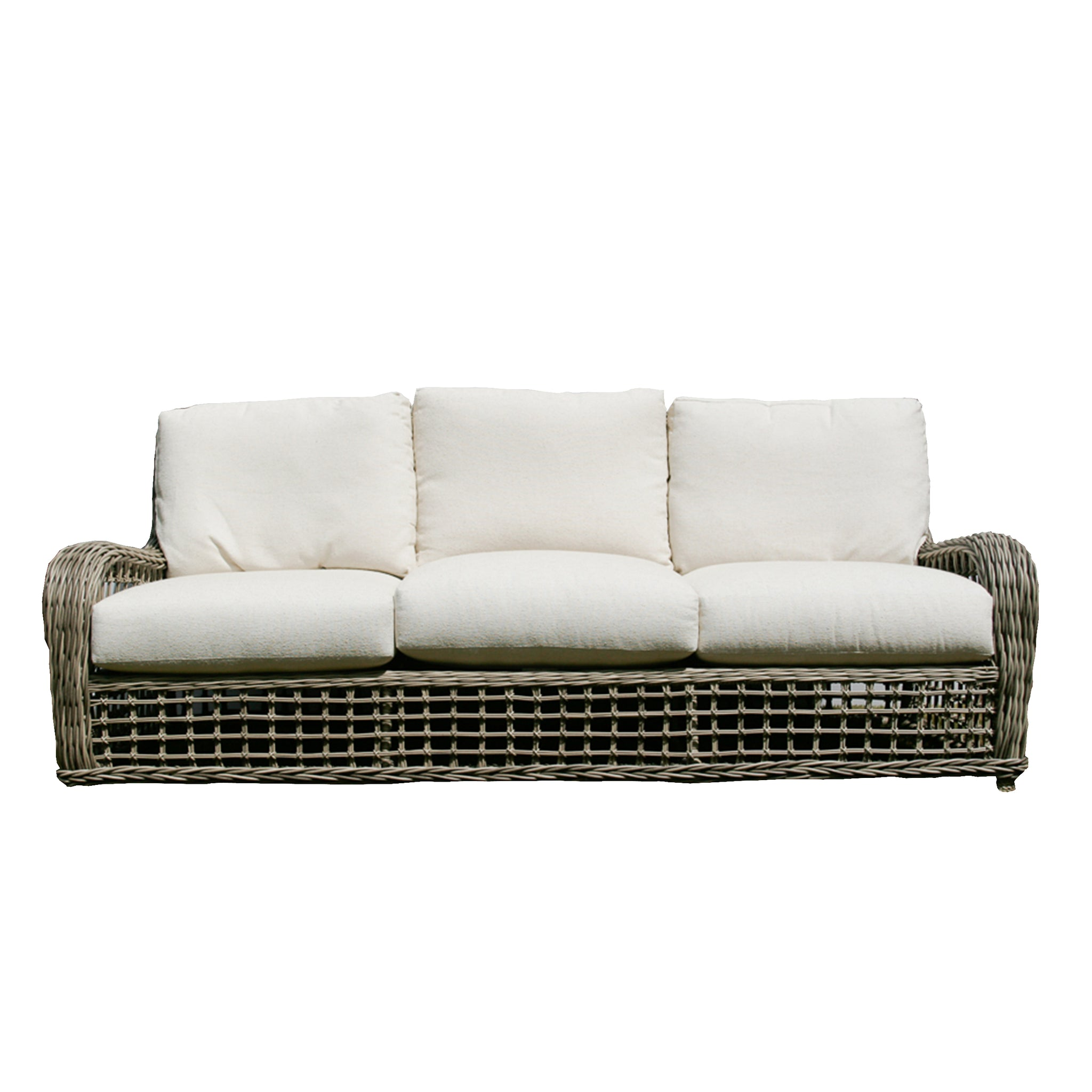 Moraya Bay Sofa by Lane Venture in Oyster finish upholstered in Rumor Vanilla Sunbrella fabric