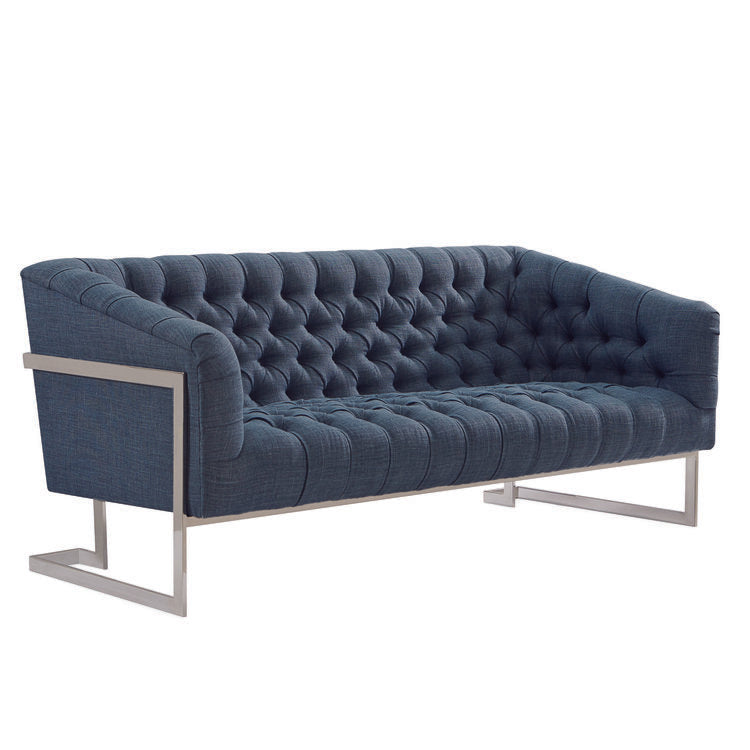 The Louise Tufted Apartment Sofa upholstered in Blue cotton