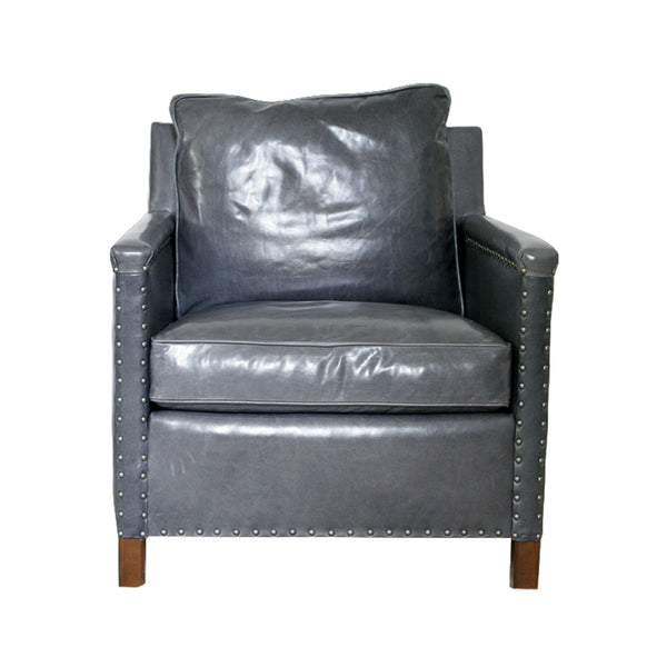 George Club Chair from Lee Industries in Grey Leather