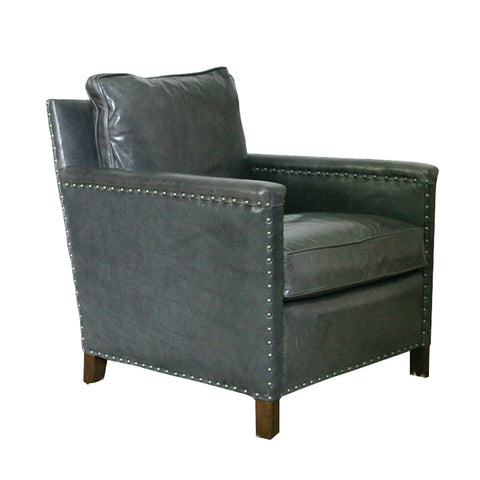 George Club Chair from Lee Industries in Grey Leather profile