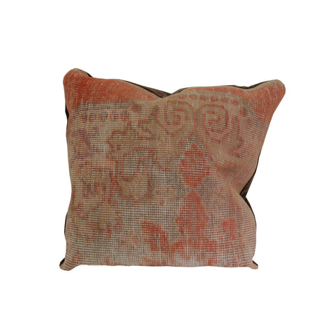 22 x 22 Vintage Turkish Rug Pillow in rust color