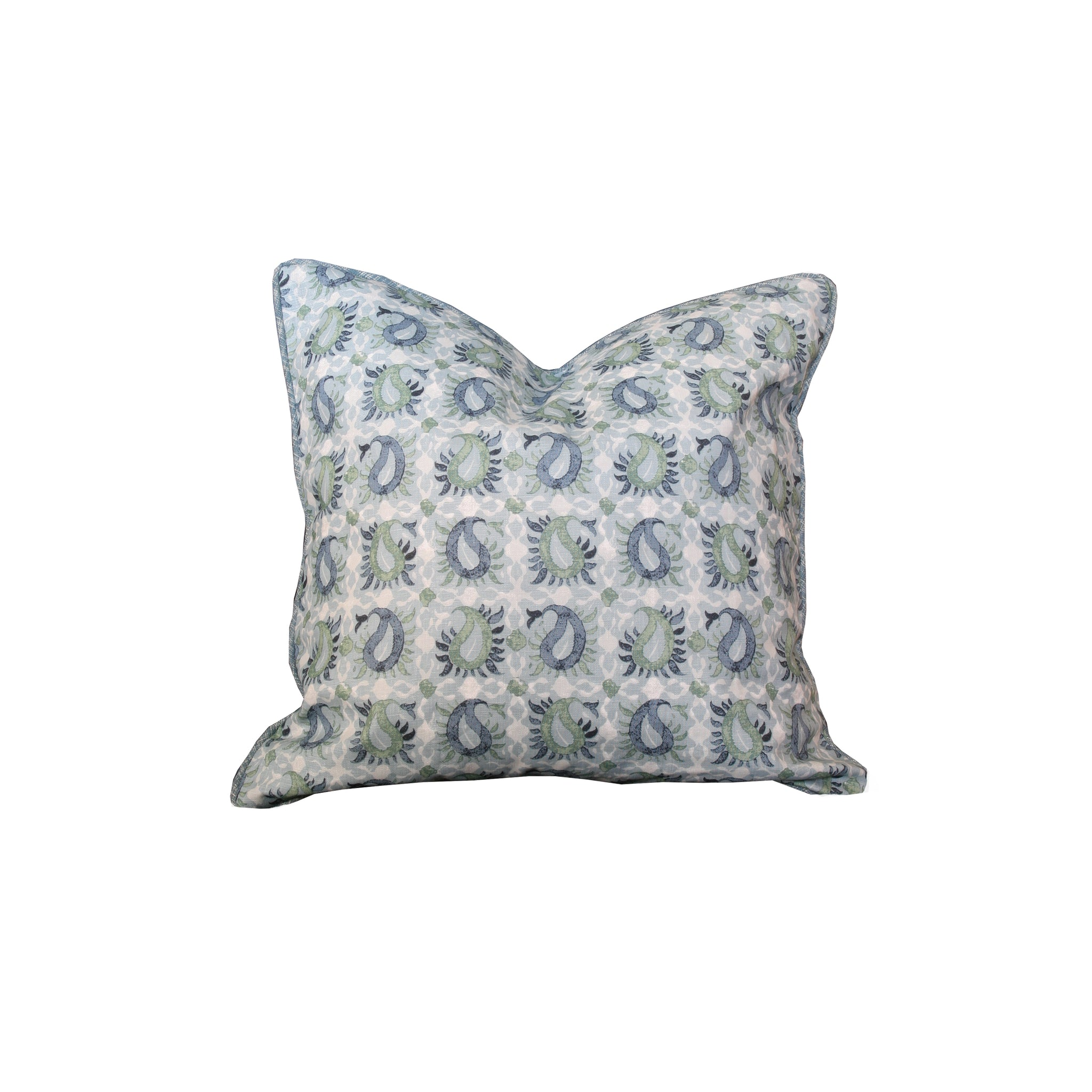 Hawthorne House Bespoke 20 x 20 pillow in Martyn Lawrence Pausley Block print in blue and green with contrast back and welt in blue textured woven linen