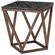 The Jasmine side table with black marble top and walnut base