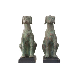 Pair of vintage green bronze dogs